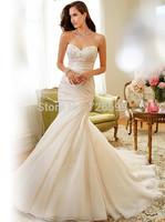 HYL Custom Size New Luxury White/ivory Charming Mermaid Strapless Bridal Gown Applique Organza Floor-Length Wedding Dresses