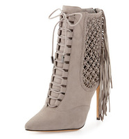 New Brand 2014 women booties punk style tassel cut-outs back zipper lace-up lady shoes pointed toe thin high heesl women boots