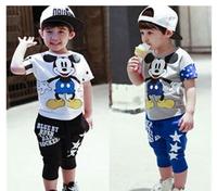 New  Children Sports Clothing Set T Shirt + Short Summer 3-7Yrs Kids 2pcs Clothing Set Cotton Cartoon Baby Clothing Set Retail