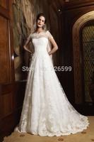 HYL Custom Size New Luxury White/ivory Applique Tulle Bridal Gown Short Sleeve A-Line Floor-Length Wedding Dresses