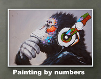Framed diy digital Oil Painting On Canvas Living Room Home Decor Wall Painting by numbers Thinking Orangutan