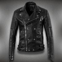 Fashion men's clothing short design leather motorcycle outerwear large lapel slim leather jacket sports brand men. Free Shipping