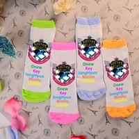 Wholesale cute kawaii Shinee logo candy color four colors green orange pink blue girls' sock cotton kpop k-pop socks