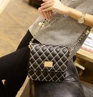 Bags 2015 black bag vintage cross-body shoulder bag fashion handbag women's plaid chain bag