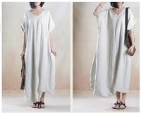 2015 Summer New Original Design Women's Irregular Bottom Oversized Ballon Long Dress Female Linen Dress& Linen Designer Outwear
