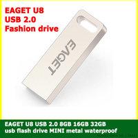 EAGET U8 Flash U disk 8GB 16GB 32GB usb flash drive pen drive MINI metal waterproof USB 2.0 Fashion drive