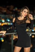 2015 New Black Long Sleeve Novelty Sexy Lingerie Night Robe Women Nightwear Backless Bodycon Nightgown Adult Club Wear
