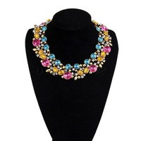 Fashion Design Muticolor Crystal Flower Choker Chain Collar Womens Jewelry