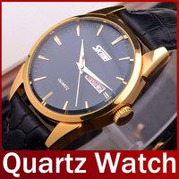 2015 New Fashion Brand Skmei Casual Quartz Analog Watch Men Genuine Leather Waterproof Wrist Watch For Men Relogio Masculino