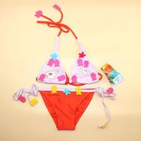 Free Ship cute summer beach baby girl kids children's split flower fish cartoon swimsuit bikini swimwear bathing set size 3-12