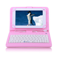 IRULU eXpro X1c 7″ Tablet Android Allwinner 8GB 7 inch Quad Core Cheap Internet Tablet White w/ Pink Keyboard Case 2015 Newest
