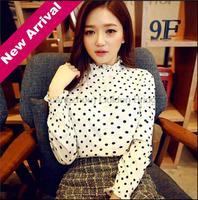 Spring Newest Arrival Women Casual Flounced Chiffon Shirt Retro Dot Stand collar long-sleeved Slim Shirts Blouses Tops LQ8631