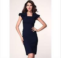Women dress New 2015 Vestidos Femininos Summer Dresses Patchwork Elegant Ruffles dress Vestido De Festa Plus Size Party Dresses