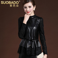 Autumn and winter Women sheepskin T-shirt patchwork lace long-sleeve velvet lace shirt genuine leather thickening Blouses
