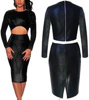 Hot snake leather two-piece dress, nightclub dresses sexy women