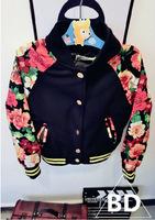 2015 spring auumn hot sale girls fashion warm baseball coat kids floral patchwork jackets 1020
