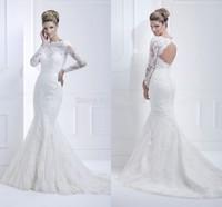Vestidos De Novia Vintage Vestidos Bridal Gown with Full Sleeves Mermaid Wedding Dresses 2015 Lace