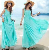 vestidos 2015 New Women Summer Solid Bohemian Beach Long Beach Sleeveless Dress Crewneck Maxi Swing Dresses