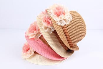 2015 весна лето розничная дети цветов купол соломенной шляпе девочки пляж шляпы дети шляпа солнца