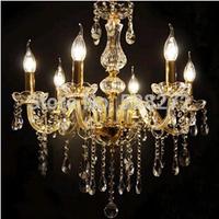 Hot! 6 lights Transparent Crystal chandelier lamps crystal chandelier led candle lamps living room chandelier