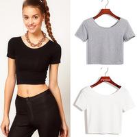 Plus Size New Summer Women Sexy Crop Top Cotton Ladies Short Sleeve T Shirt Tee Skinny Short T-shirt Basic Stretch T-shirts T66