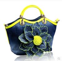 Canvas Bag Handbag Satchel Bags new Korean crossbody bag cloth with drill roses flower Canvas Handbag women messenger bags 2015