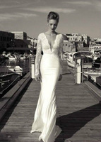 Appealing  A-Line Deep V Neck Chiffon Sweep Train Lace Long Sleeves Backelss Wedding Bridal Gowns