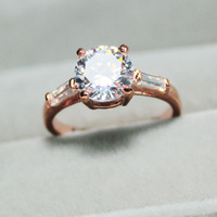 Solitaire 1cts 18KGP Gold Round Cut Crystal CZ Engagement Wedding Ring R60