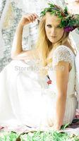 HYL Custom Size New Luxury White/ivory Lace Bridal Gown Beading Cap Sleeve A-Line Sashes Floor-Length Wedding Dresses