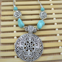 """Fashion jewelry Tibetan Silver Plated Turquoise Stones Cocktail Necklace /Pendant 18"""" For Women Free Shipping N094"""