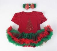 Christmas Xmas costume baby girl's short sleeved christmas tree tutu bodysuit  +baby headbands 2pcs set  fluffy baby one-pieces
