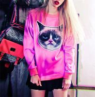 2015 Punk Sudaderas Women Hoodies Harajuku Sweatshirts Animal 3D Pullovers Sport Suit Cat Head Printed Tracksuits S17-460