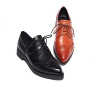2014 spring and summer shoes leather, solid retro British style pointed leather shoes