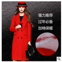 Europe style autumn winter women slim plus size cashmere coat 2015 new fashion solid double breasted long wool coat F0965 HOT