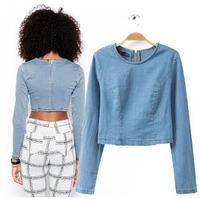 New Fashion Blue Denim Crop Top Long Sleeve Elasticity Denim T Shirt Women Back Zip Jeans Tops Casual Tees Blusas Femininas T71