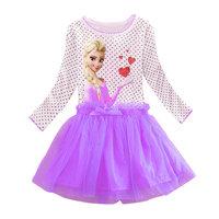 2014 New Arrival Elsa Party dresses Girls dress Kids Princess dress Baby Printed Clothes Children Cartoon Clothing