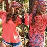 blusas femininas women summer back Hollow Out lace Crochet Blouses Ladies t shirt clothing red white plus size 5XL 4XL 3XL 2015