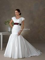 2015 New Arrival Long Mermaid Taffeta Cap Sleeve Wedding Dresses Court Train Vestidos De Noiva Bride Dress Bridal Gown