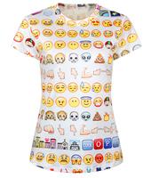 New 2015 Summer T Shirt Women Emoji T-shirt Women's Clothing Casual T-shirts O-Neck Print Short Sleeve Tees Tops