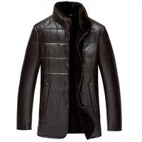Dusen Klein Leather jacket Men Mid-long design Genuine sheepskin and wool mink collar Black/Brown coat free shipping 14J1386