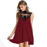 2015 Casual dress Fashion Collar flower Women summer dress Wine red