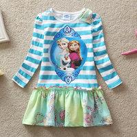 2014 New Design Queen Party dresses Girls dress Kids Princess dress Baby Printed Dresses Children's Cartoon Clothing