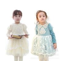 Wholesale girls spring new arrival fashion princess lace floral tutu dress kids long sleeve cotton dress 1137