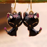 fashion smile Vintage black cat eardrop earrings