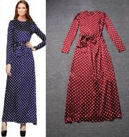 2015 Summer Women Elegant One-piece Chiffon Dress Small Polka Dot Pattern Long-Sleeve Slim Dresses Bowknot Belt