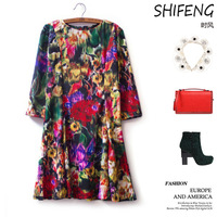 New Retro printing sleeve head back zipper in the long section of seven Quarter Sleeve Dress M26-15