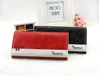 Fashion womens purse little girl vintage wallet PU leather long design contrast-collar small cute wallets