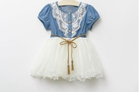 Wholesale Children Clothing Good Quality Denim Net Yarn Girl Sweet Dress With Belt Short Sleeve Baby Kid's Princess Dress