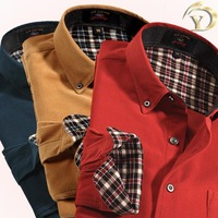 New 2014 Famous Brand Spring&Summer Men's Long Sleeve Corduroy T Shirt Korean Style Casual Shirt