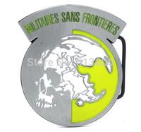 Black Metal Gear Solid Militaires Sans Frontieres belt buckle, Pewter color